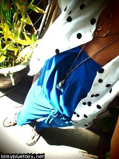 blue jumpsuit + polka dot cardi