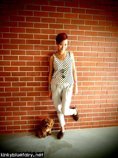 polka dot + harem pants